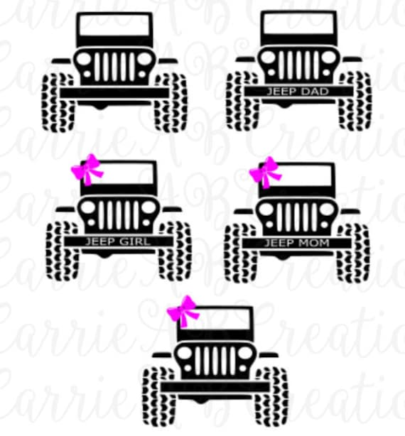 Jeep Jeep Dad Jeep Mom with Bow Jeep Mom without Bow Jeep