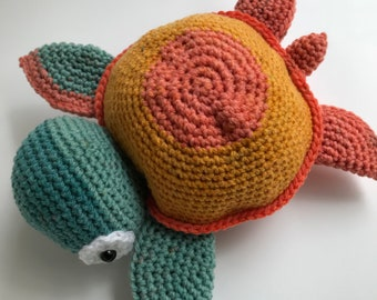"Stuffed animal- Ready to Ship- ""Marla"" amigurumi sea turtle"
