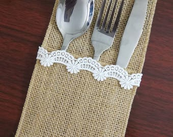 Set of 10-Wedding Table Set,Table Setting,Burlap Silverware Holder,Wedding Rustic Menu,Burlap table decoration,Rustic table decor, - (PY)15