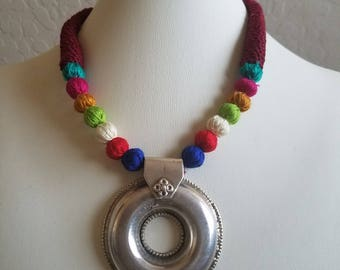 Sterling silver Pendant Hand woven cord necklace
