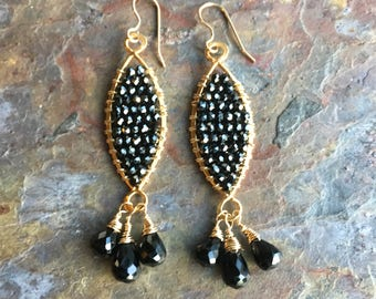Black spinel  gold dangle statement earrings