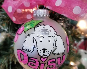 Personalized Hand Painted Glass Christmas ornament for Dogs, cats, pets