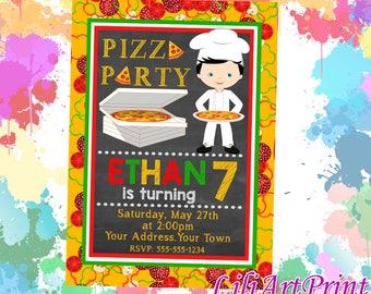 Pizza Party birthday invitation, pizza invite, pizza party birthday party, Digital file(9)