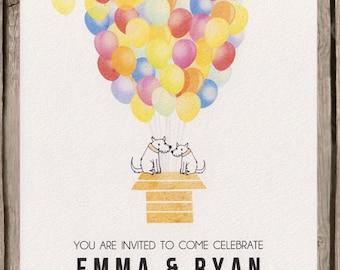 Colourful balloon wedding invitation