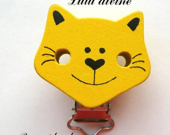 Clip strap / Clip in wood, cat, cat passing loop, yellow