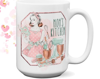 Retro Mom's Kitchen Cute Coffee Mug | Coolest Coffee Mugs | Unique Coffee Mugs | Big Coffee Mugs | Mothers Day Gift | Customized Coffee Mugs