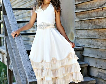 beach flower girl dress, junior bridesmaid dress, rustic flower girl, bohemian flower girl dress, country flower girl dress,girls maxi dress