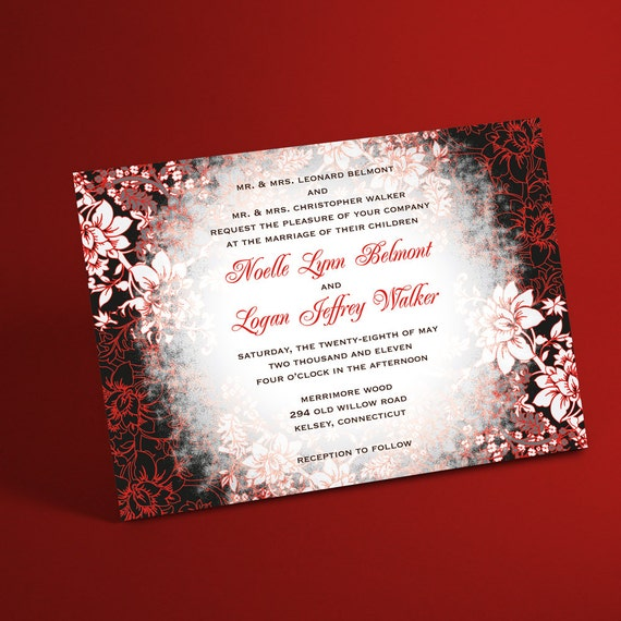 Winter wedding invitation suite with evening frost border junglespirit Images
