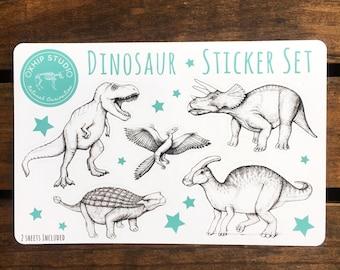 Dinosaur Sticker Pack. Dinosaurs Sticker Sheet. Die Cut Stickers. Hipster Science Gift. Unique Scrapbook Stickers. Scrapbooking Supplies.