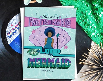poetic noble land mermaid greeting card // parks and recreation card // leslie knope card // ann perkins card // greeting card friends
