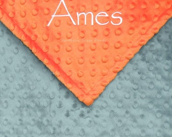 Minky Baby Boy Blanket , Baby Blanket with Name - Personalized Gift for Baby Shower - for Baby Boys - Orange and Gray, or ANY colors