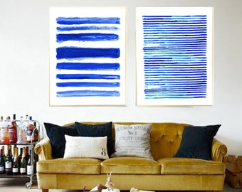 Abstract painting Set of 2 Blue Abstract watercolor Abstract art print Minimalist art print Abstract watercolor painting Indigo painting art