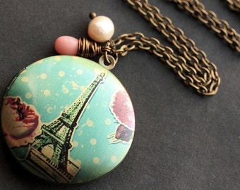 Eiffel Tower Locket Necklace. Spring in Paris Necklace with Coral Teardrop and Fresh Water Pearl. Eiffel Tower Necklace. Handmade Jewelry.