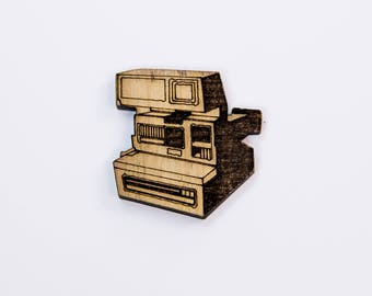 Wooden Polariod Camera Badge