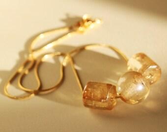 Gold Glass Geometric Brass Necklace