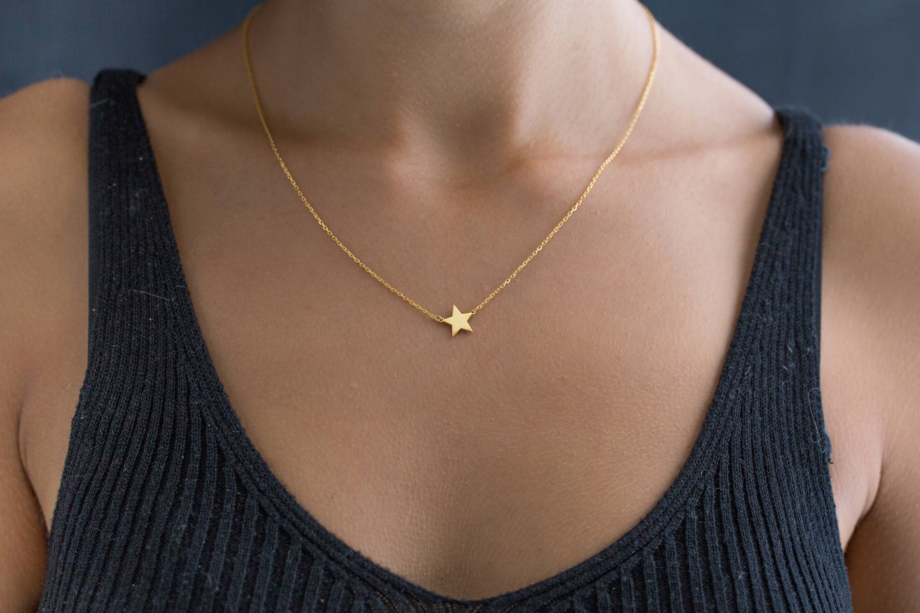 little pin chain crescent details clasp gold moon a lobster closure crescents sweet plated on delicate handcrafted necklace and