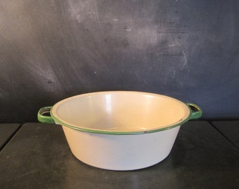 Vintage Green and Cream Enamelware Bowl with Handles