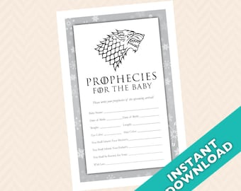 "Dire wolf  ""Prophecies for the Baby""  Baby Shower Game - Stark, GOT"
