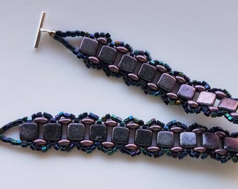 Purple Beaded Bracelet – Handmade – Beadwoven Bracelet - Beaded Bracelets for Women