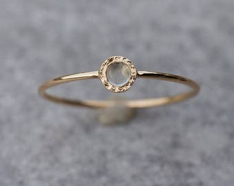 Tiny Moonstone ring in 14k yellow gold, stacking ring, 14k gold Engagement ring, Dainty Gemstone ring, Anniversary, Unique gift for Her