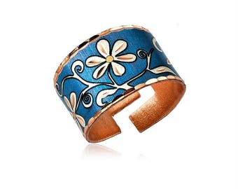 Blue flower design handmade copper adjustable ring-lightweight, soft