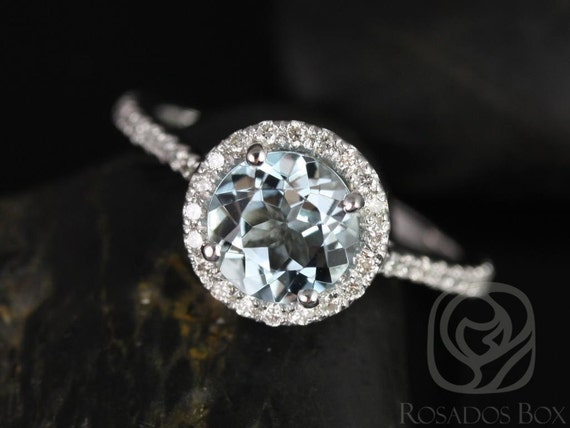 Rosados Box Kubian 7mm 14kt White Gold Round Aquamarine and Diamonds Halo Engagement Ring