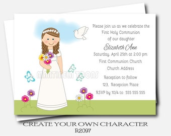 Personalized Girl Communion Invites- First Holy Communion Invitation- 1st Communion Invitation- Girl Communion Invitation- First Communion