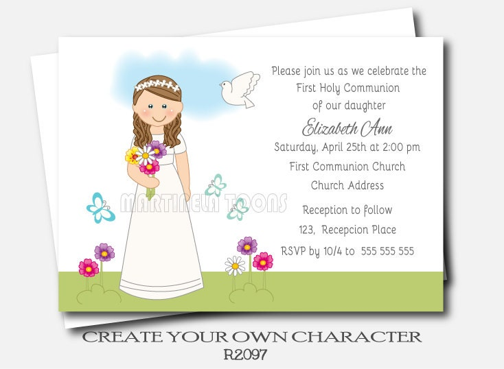 Personalized Girl Communion Invites First Holy Communion