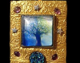 Druzy Celtic Tree of Life Pendant Necklace Wearable Art