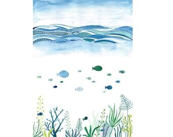 nautical watercolor print fish art school of fish print navy watercolor seaweed painting underwater world nautical nursery art print