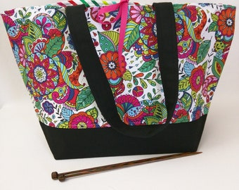 Tie-Top Tote with Padded Organizer Pockets - Coloring Book