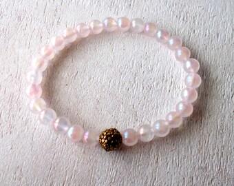 Rose Aura Quartz Bracelet, Pink Quartz Crystal Healing Bracelet, Healing Jewelry - Rose Aura Quartz, Unconditional Love