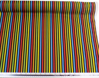 Kids Striped Black Yellow Blue 100% Cotton High Quality Fabric Material *2 Sizes*