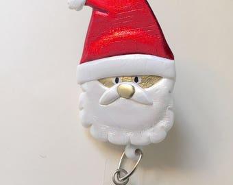 Santa Badge Reel ID Holder with retractable cord Alligator or belt clip