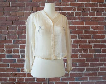 Silk Embroidered 1920s Blouse