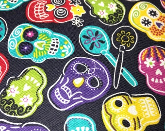 Day of the dead Dia de los muertos sugar skull cotton fabric-per yard