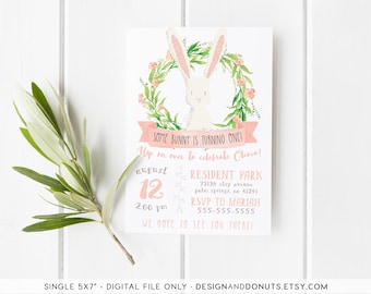 Bunny Birthday Invitation, Spring, Easter, Floral, Some Bunny Is One, First Birthday [252]