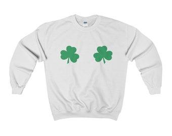 Irish Shamrock Boobs Funny St Patricks PaddyS Day TShirt Pattys Day Womens Crewneck Sweatshirt