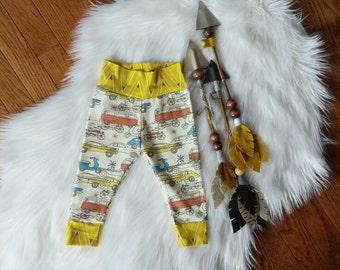 Organic knit + Modern + Baby Clothes + Car Leggings + Baby Boy Pants + Shower Gift + Leggings