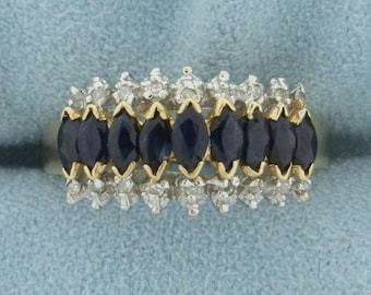 1 ct TW Natural Sapphire and Diamond Ring in 14K Yellow Gold