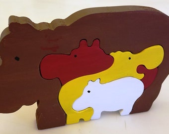 Handmade and Painted Wooden Mommy with baby Hippo 3D Children's Puzzle
