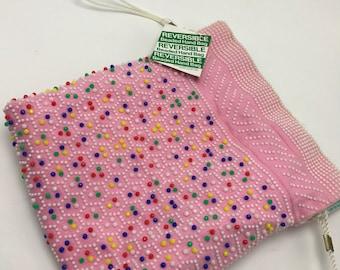 Vintage 1970s Pink Blue Beaded Purse Drawstring Bag NOS Hong Kong Reversible