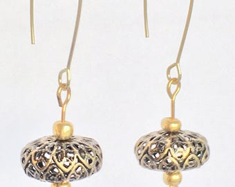 Brass and gold ear wire earrings