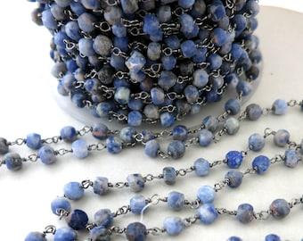 Denim Blue Sodalite Rosary Chain By The Foot, Beaded Gun Metal Black Wire 3.75-4mm, Bulk Beaded Chain