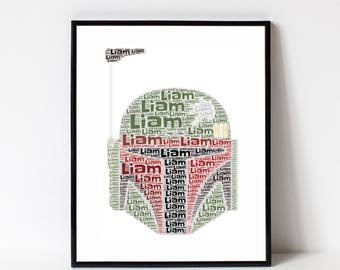 BOBA FETT Print - Star Wars Room Decor - Boba Fett Wall Art Print Kids Room- Star Wars Poster - Personalized Name Art Typography Print
