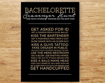 Bachelorette Scavenger Hunt, Bachelorette Game, Team Game, PRINTABLE Party Game, Girls Drinking Game, HENS GAME, Bachelorette Party Game