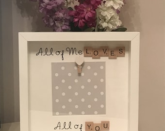 Valentine's Day scrabble Boxframe, Valentines Gift, Gifts for her, Gifts for him, photo frame, Love, Forever, Wedding gift, anniversery