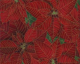 "Christmas Fabric, Poinsettia: Timeless Treasures Tis the Season Metallic Poinsettias Red 100% cotton Fabric by the yard 36""x43"" (J14)"