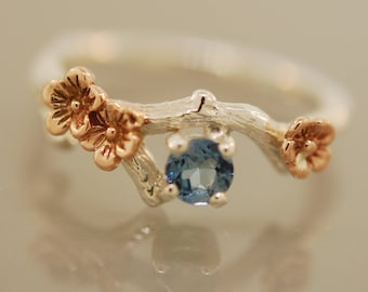 Bud branch with blossoms and aquamarine,  twig engagement ring, alternative engagement ring, Aquamarine ring, cherry blossom ring