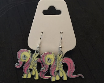 Silver Plated My Little Pony Yellow Fluttershy Earrings